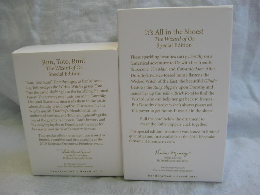 Hallmark 2010 2011 Run Toto Run! It's All In The Shoes Lot Of 2 Limited Quantity Wizard Of Oz Christmas Tree Ornaments