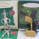 Hallmark Dorothy Gale  Tin Man Scarecrow Toto Lot Of 4 Miniature Wizard Of Oz Christmas Feather Tree Ornaments