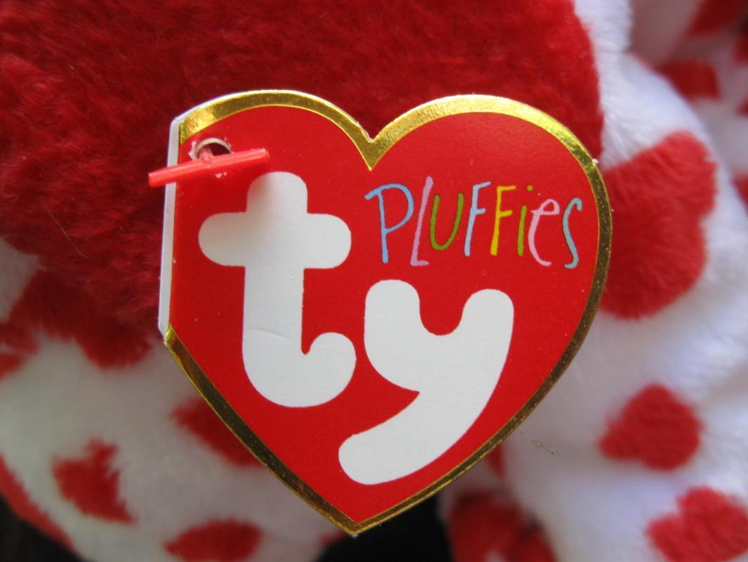 Ty Sweetly Red & White Puppy Dog Pluffie Plush New