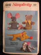 New Vintage Simplicity 6810 Three Cuddly Stuffed Toys Sewing Pattern