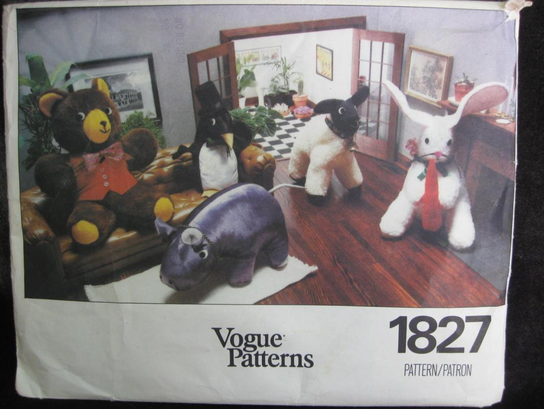 New Vintage Vogue 1827 Bear Lamb Penguin Bunny Hippo 5 Stuffed Animals Sewing Pattern OOP