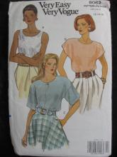 New Very Easy Very Vogue 8062 Loose Fitting Pullover Blouse  Misses' Size  12 14 16  Sewing Pattern 1990