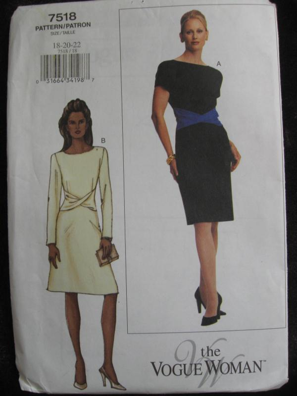 New The Vogue Woman 7518 Lined Dress Misses' Size  18 20 22 Sewing Pattern 2001