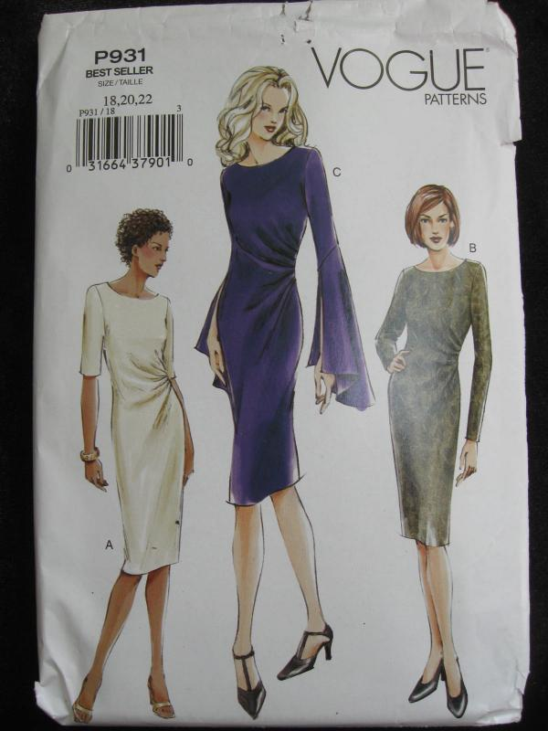 New Vogue Misses' P931 Semi Fitted Straight  Dress Misses' Size p18 20 22 Sewing Pattern 2003