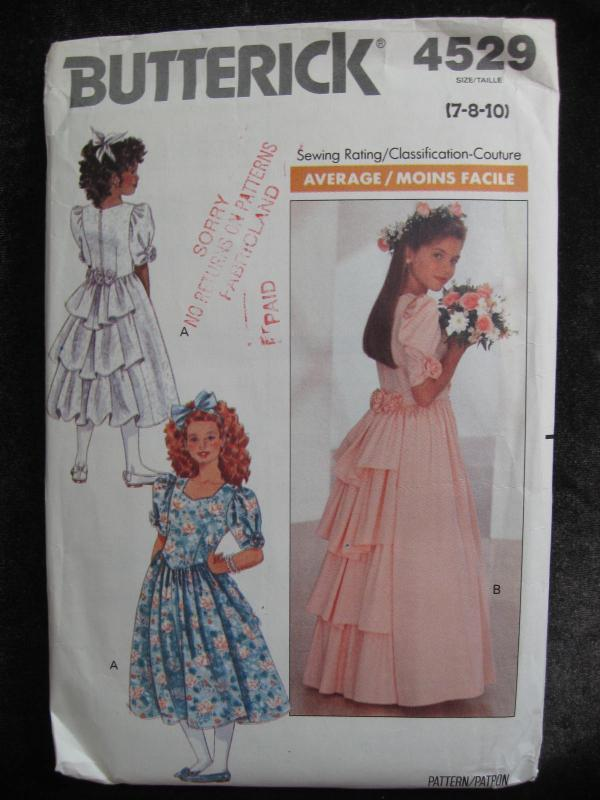 New Vintage Butterick 4529 Girls' Party Dress Sewing Pattern Size 7 8 10 Dated 1989