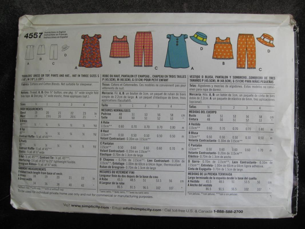 New Simplicity 4557 Toddlers' Dress or Top Pants & Hat  Sewing Pattern Size A 1/2 - 4 Dated 2005