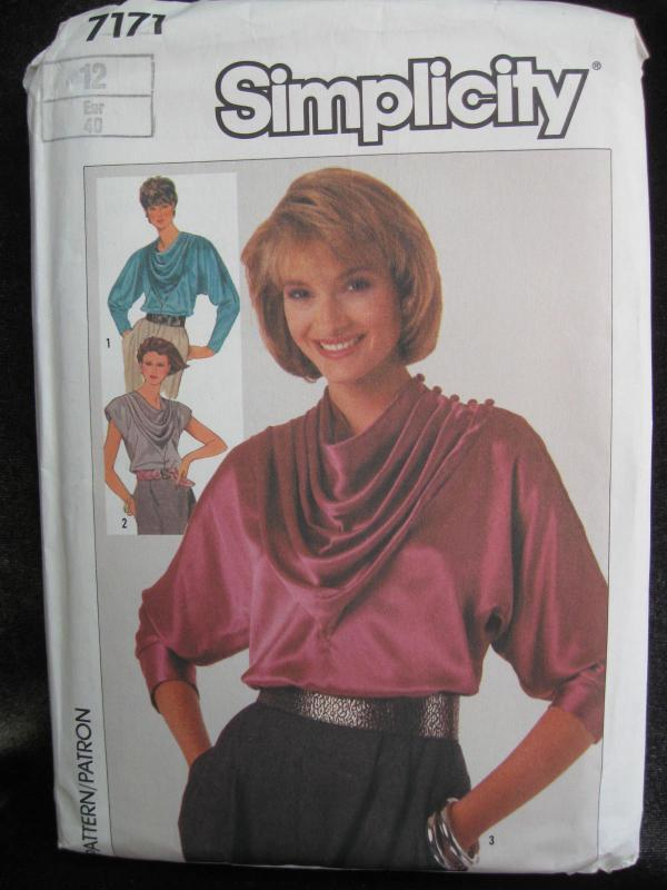 New Vintage Simplicity 7171 Misses' Draped Front Blouse Size 12 Dated 1985