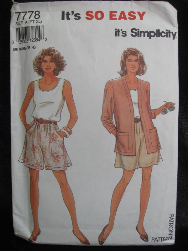 New Vintage Simplicity 7778 Misses' Summer Shorts (Skort)  Top & Unlined Jacket  Sewing Pattern Size Pt S M L XL Dated 1992