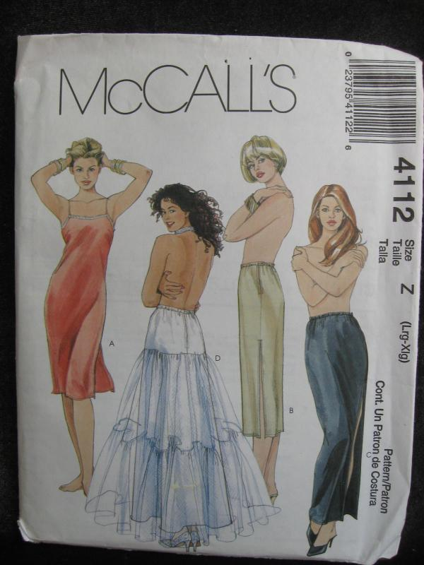 New McCall's  Misses' Slip, Half Slip & Petticoat  Sewing Pattern Size L - XL  Dated 2003