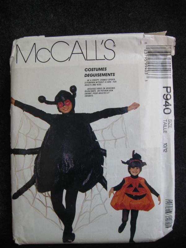 New Vintage McCall's P940 Boys Or Girls   Spider or Jack O Lantern Halloween Costume Sewing Pattern  Size 10 - 12  P 940