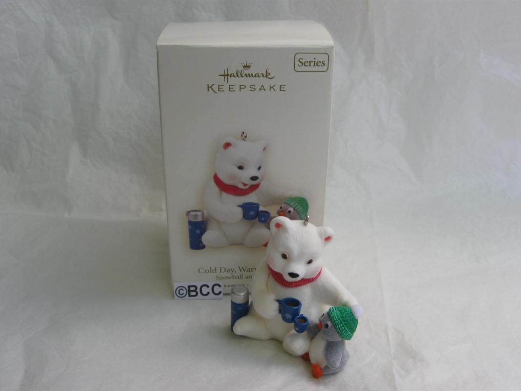 Hallmark 2008 Cold Day Warm Friends Snowball & Tuxedo 8th In Series Christmas Tree Ornament