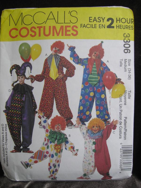 New McCall's 3306 Misses Mens Halloween Clown Costume Sewing Pattern Size Medium