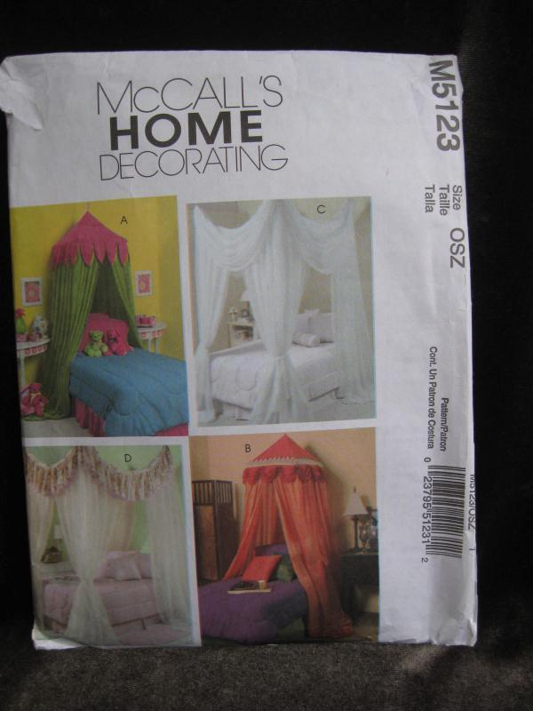 New McCall's Home Decorating M5123 M 5123 Bed Canopies Sewing Pattern