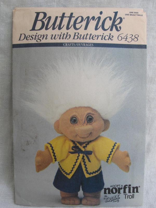 Vintage Butterick 6438 Adopt A Norfin Troll Sewing Pattern