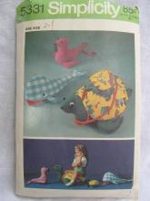 Vintage Simplicity  5331 Turtle Whale Seal Stuffed Toys  Sewing Pattern