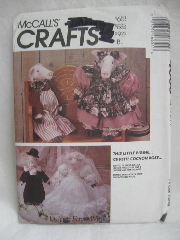 New McCall's Crafts 4665 Pig Doll Bride & Groom With Clothes Sewing Pattern