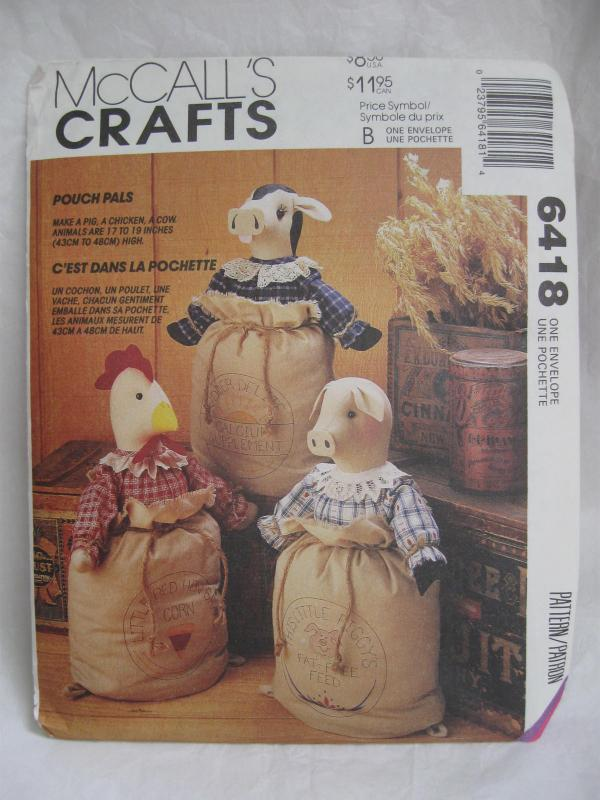 New Vintage McCall's Crafts 6418 Pouch Pals Chicken Cow Pig In A Gunny Sack Sewing Pattern