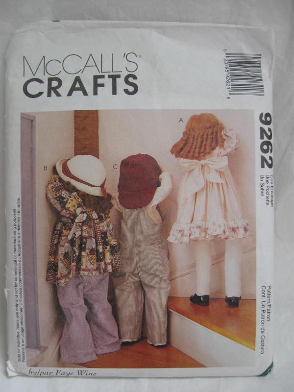New Vintage McCall's Crafts 9292 Time Out Dolls & Clothing Sewing Pattern