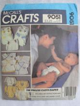 Vintage McCall's Crafts 9051 Pinless Cloth Diaper Shirt Diaper Cover Sewing Pattern