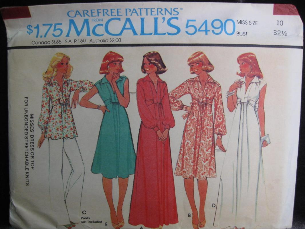 New Vintage McCall's 5490 Misses' Dress or Top Sewing Pattern 1970's