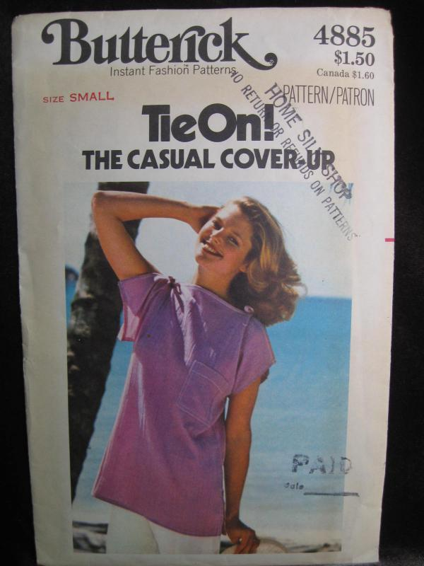 Vintage Butterick Tie OnThe Casual Cover Up Top Misses' Sewing Pattern Size Small