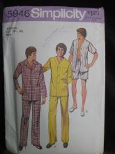 New Vintage Simplicity Men's Pajamas' Sewing Pattern Size Medium 1970's