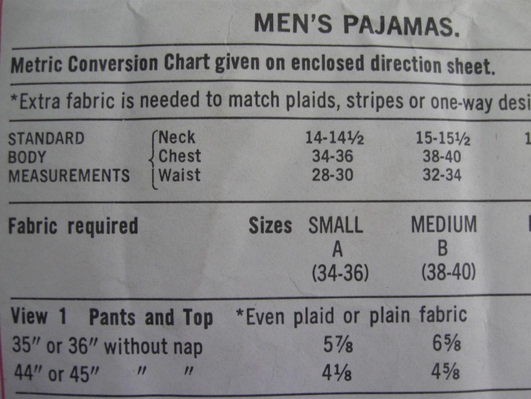 New Vintage Simplicity Men's Pajamas' Sewing Pattern Size Medium 1970's
