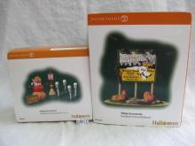 Department 56 Halloween Festival Billboard & Halloween Accessory Set of 5  Lot Of 2 Village Accessories