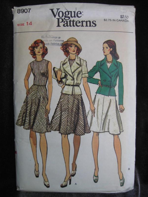 New Vogue 8907 Misses' Jacket & Dress Sewing Pattern Misses' Size 14 1970's