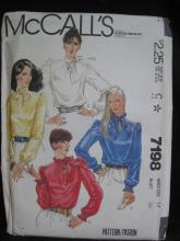 New McCall's 7198 Misses' Blouses Sewing Pattern Size 14 1980's