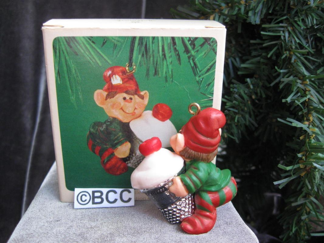 hallmark 1983 Thimble Elf Cupcake 6th In Series Christmas Ornament