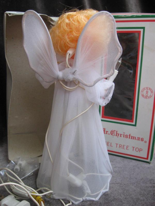 Vintage Mr. Christmas Angel Lighted Christmas Tree  Topper In Original Box Lights