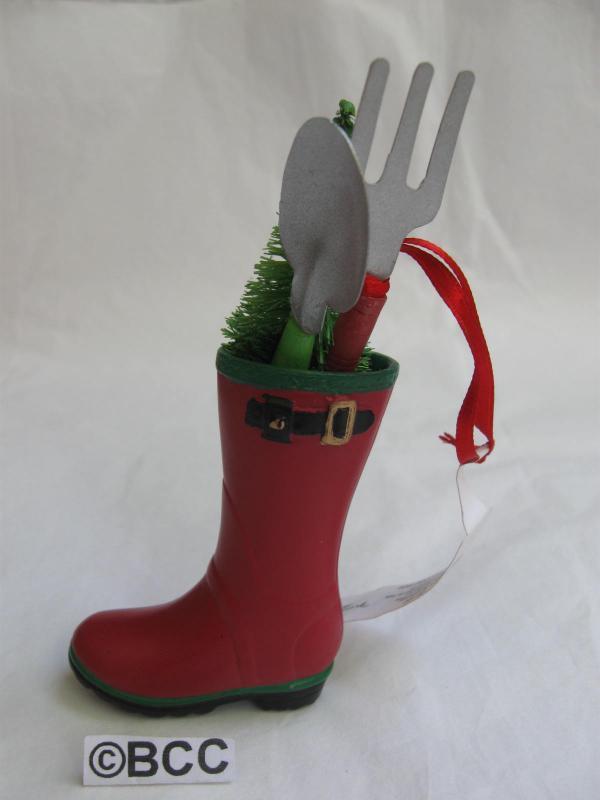 Hallmark 2012 Garden Boot With Spade & Fir Tree Christmas Gardening GardenerOrnament