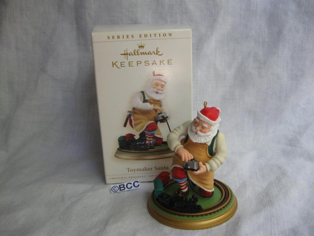 Hallmark 2006 Toymaker Santa With Train Christmas Tree Ornament