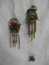 2 Sets Of Plastic Christmas Wind Chimes Lantern & Bird Cage