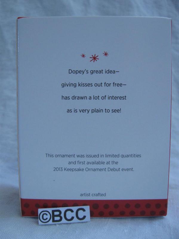 Hallmark 2013 Free Kisses Dopey Disney Snow White Limited Quantity Keepsake Christmas Ornament