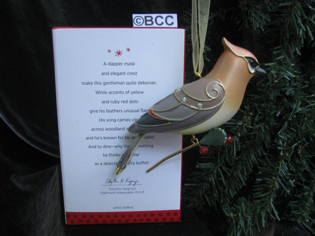 Hallmark 2013 Cedar Waxwing 9th In The  Beauty Of Birds Series Keepsake Christmas Ornament