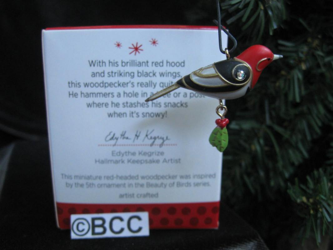 Hallmark 2013 Red Headed Woodpecker 5th In The Beauty Of Birds Miniature Series Keepsake Christmas Ornament