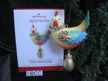Hallmark 2013 Three French Hens 3rd In The Twelve Days Of Christmas Series  Keepsake Ornament