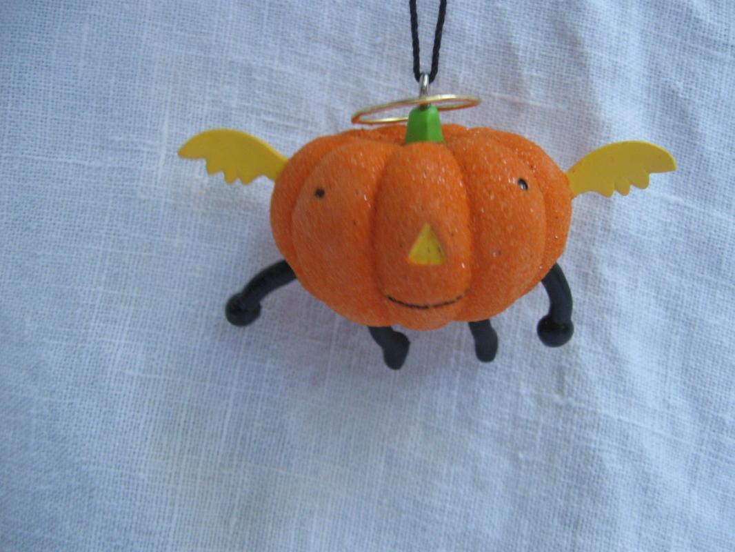 Hallmark 2013 Jack O Lantern & Bat With Bell 2 Halloween Ornaments