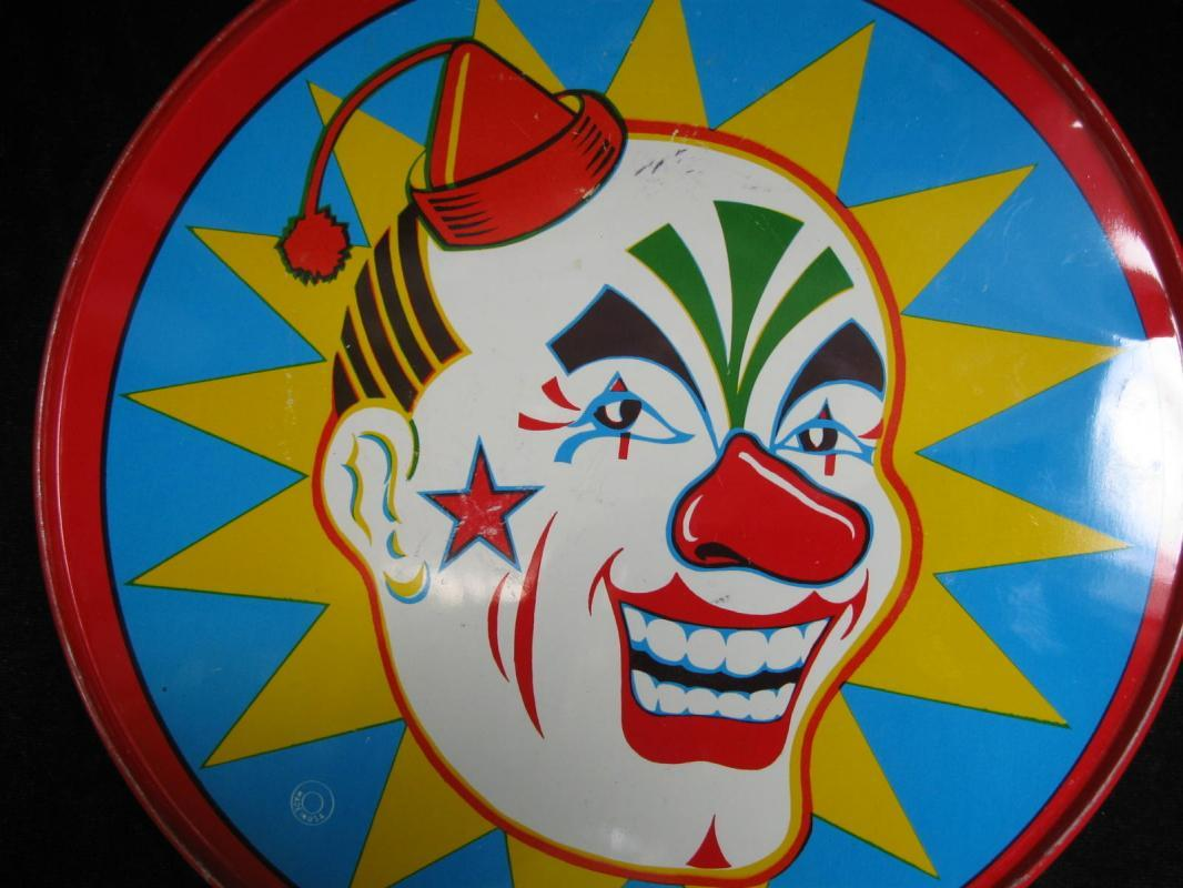 Vintage Halloween Clown Tambourine Plus Blue & White Tamborine Lot Of 2