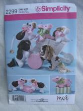 New Simplicity 2299 Cow Pig Pony Stuffed Animals Sewing Pattern