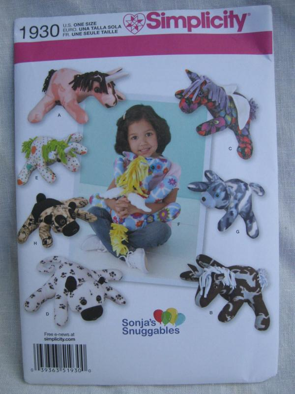 New Simplicity 1930 Unicorn Dog Pony Bear Stuffed Animals Sewing Pattern