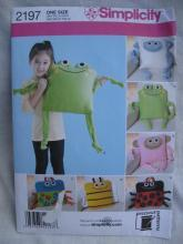 Simplicity 2197 Frog Ladybug Bumble Bee Monkey Bug Pillow Sewing Pattern