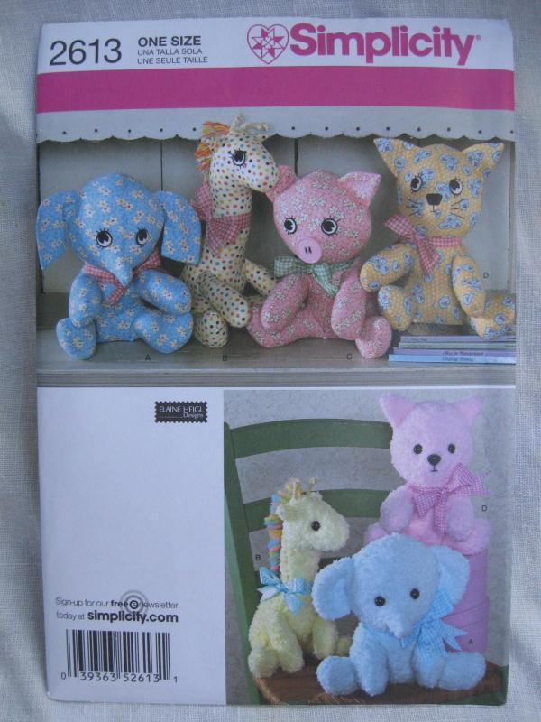 New Simplicity 2613 Elephant Giraffe Pig Cat Pony Cat Stuffed Animals Sewing Pattern