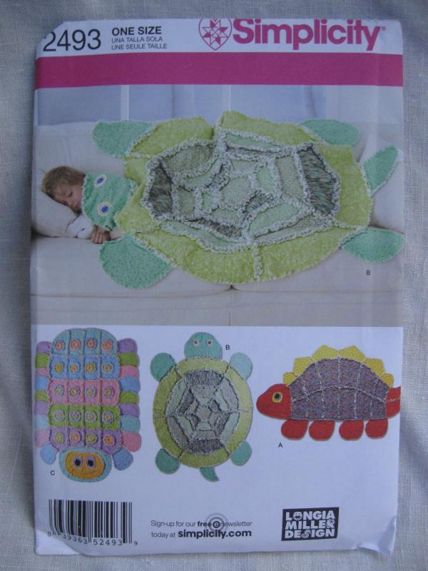 New Simplicity 2493 Turtle Caterpillar Dinosaur Rag Quilt Blanket Sewing Pattern