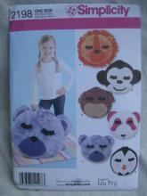 New Simplicity 2198 Lion Monkey Dog Penguin Bear Fleece Pillows  Sewing Pattern