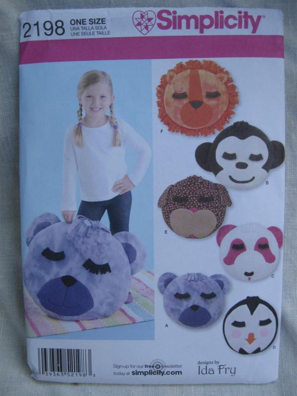 New Simplicity 2198 Lion Monkey Dog Penguin Bear Fleece Pillows  Sewing Pattern