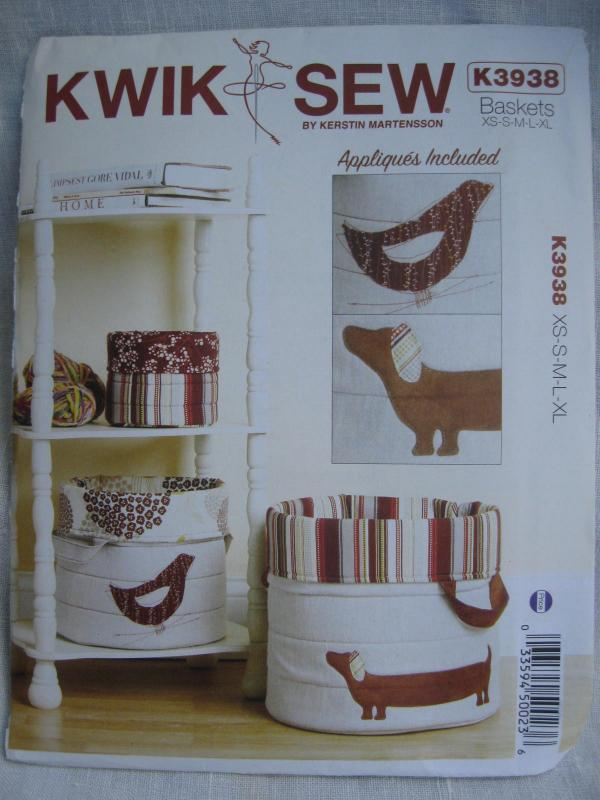 New Kwik Sew K3938 3938 Nora's Nesting Baskets In 5 Sizes Sewing Pattern