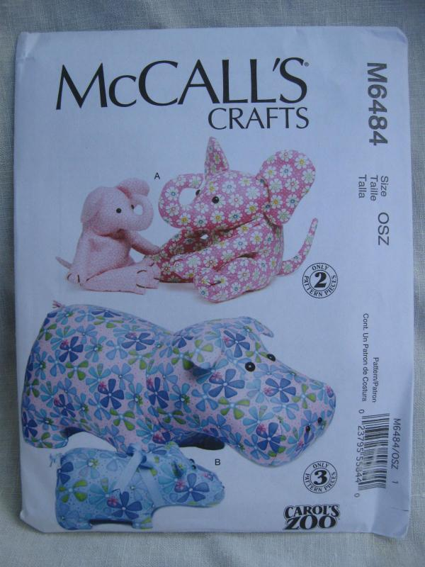 New McCall's Crafts M6484 6484 Hippo & Elephant  Stuffed Animal Toys Sewing Pattern